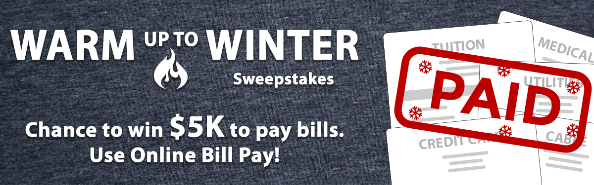Banner image announcing Warm up to Winter Sweepstakes